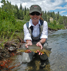 Julie with her nice Brown Trout